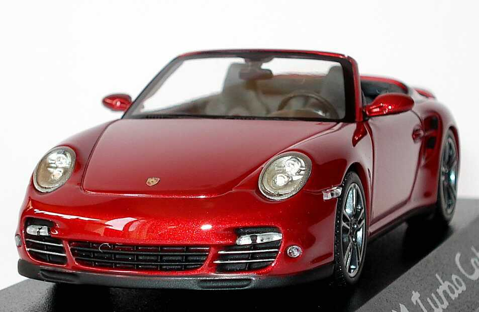 Foto 1:43 Porsche 911 turbo Cabriolet (997, Modell 2010) rubinrot-met. Werbemodell Minichamps WAP0200130A