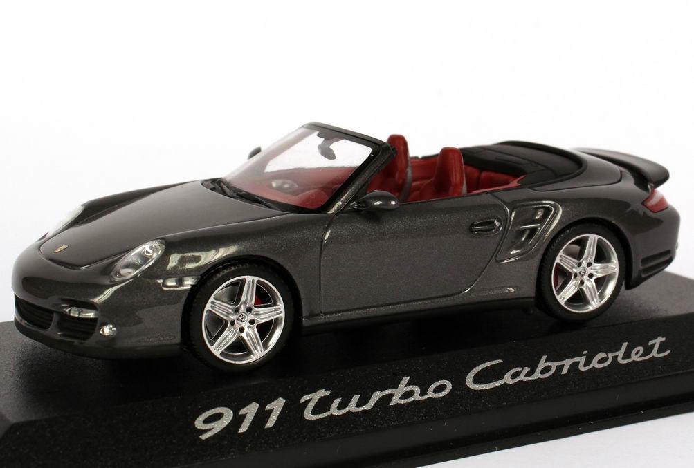 Foto 1:43 Porsche 911 turbo Cabriolet (997) meteor-grau-met. Werbemodell Minichamps WAP02000218