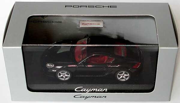 Foto 1:43 Porsche Cayman (Modell 2009) basaltschwarz-met. Werbemodell Schuco WAP02000819