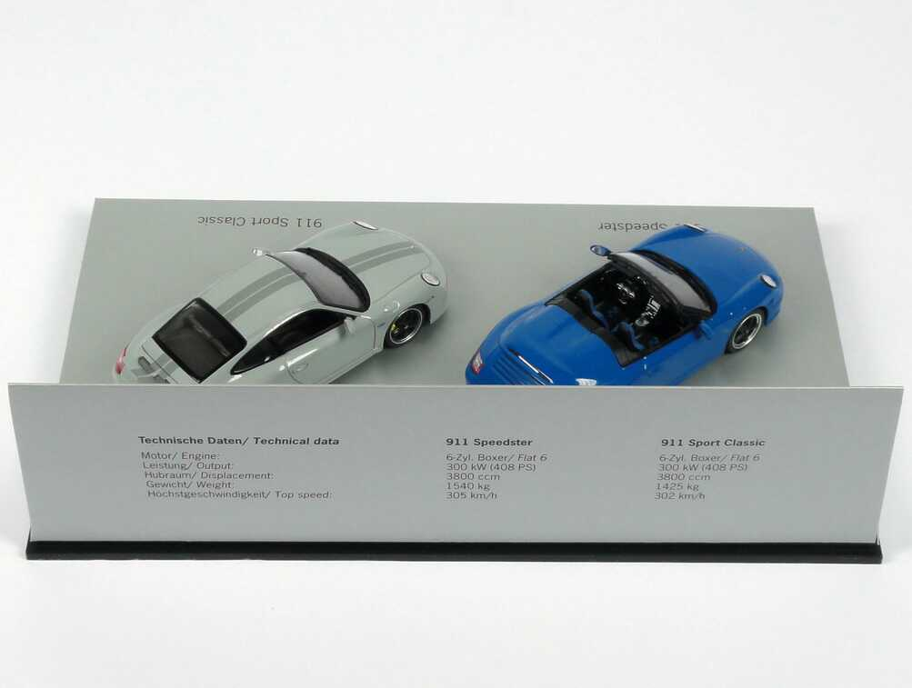 Foto 1:43 Porsche Setpackung 25 Jahre Porsche Exclusive (911 Speedster + 911 Sport Classic) Werbemodell Minichamps WAP020SET30