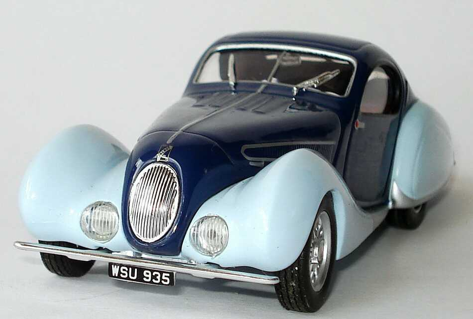 Foto 1:43 Talbot Lago T150SS Figoni Falaschi (1938) dunkelblau/hellblau Ixo