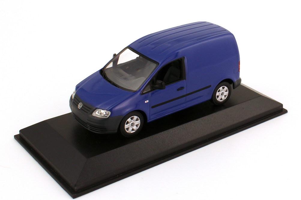 Foto 1:43 VW Caddy III (Typ 2K) Kasten blau Werbemodell Minichamps