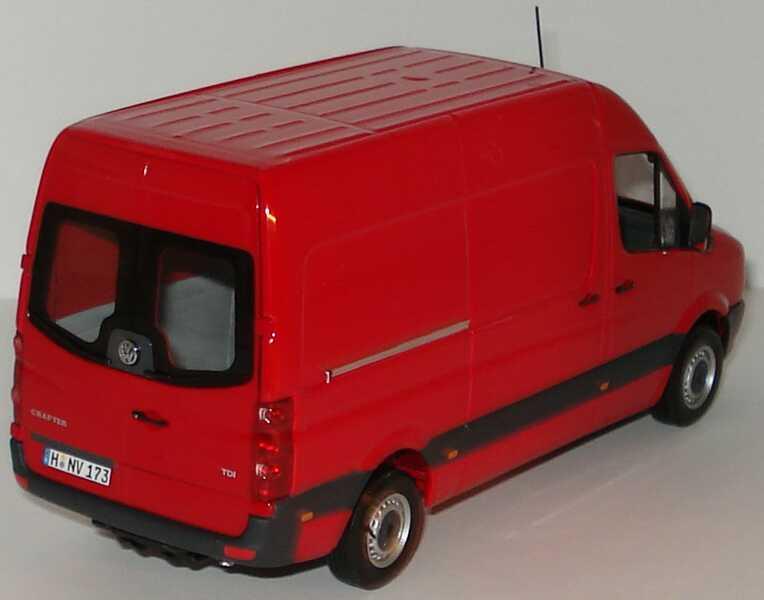 Foto 1:43 VW Crafter Kasten Hochdach tornadorot Werbemodell Minichamps 2E9099300Y3D