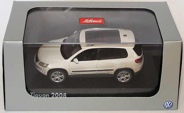 Foto 1:43 VW Tiguan Track and Field candyweiß, verschmutzt Werbemodell Schuco 5N1099300AN95