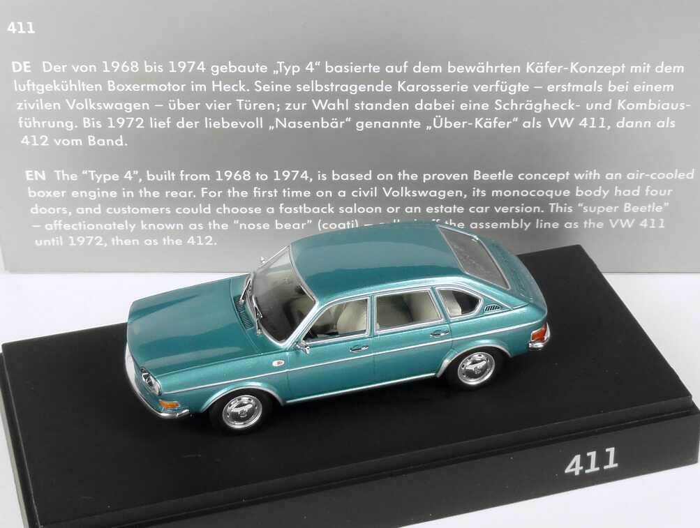 Foto 1:43 VW Typ 411 türkis-met. Werbemodell Minichamps 211099300NM6Z