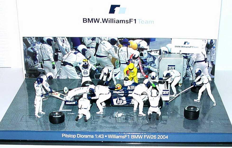 Foto 1:43 Williams F1 BMW FW26 2004 Boxenstop-/Pitstop-Diorama Werbemodell Minichamps 80420391414