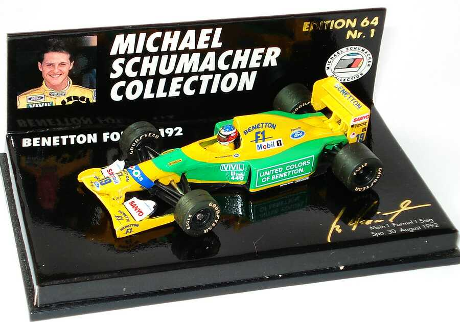 Foto 1:64 Benetton Ford B 192 Nr.19, Michael Schumacher (mein 1. Formel 1 Sieg) Paul´s Model Art MSC641100