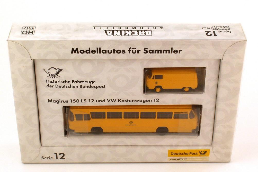 Foto 1:87 Post-Set Serie 12 Ladungstausch - Magirus 150 LS 12 Postbus und VW Kastenwagen T2 - Brekina