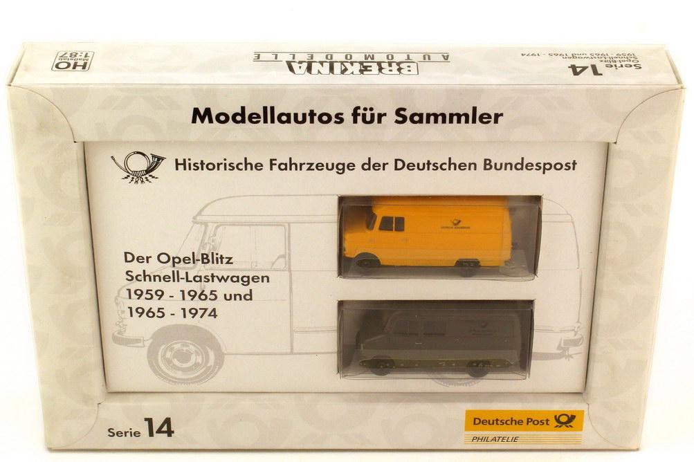 Foto 1:87 Post-Set Serie 14 Der Opel Blitz Schnell-Lastwagen 1959-1965 und 1965-1974 - Brekina 006244
