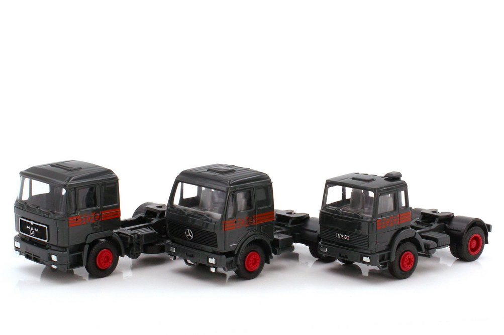 Foto 1:87 100 Jahre Automobil Edition 3 - MAN F90 + Mercedes-Benz NG + Iveco TurboTech - herpa 7555