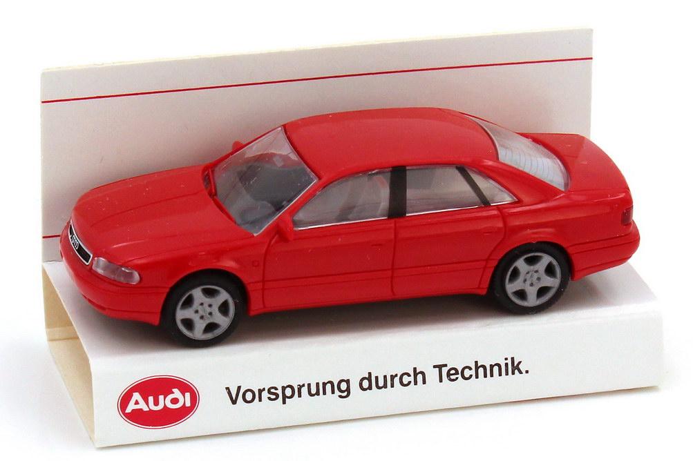 Foto 1:87 Audi A8 D2 rot - Werbemodell - Vorsprung durch Technik - Rietze