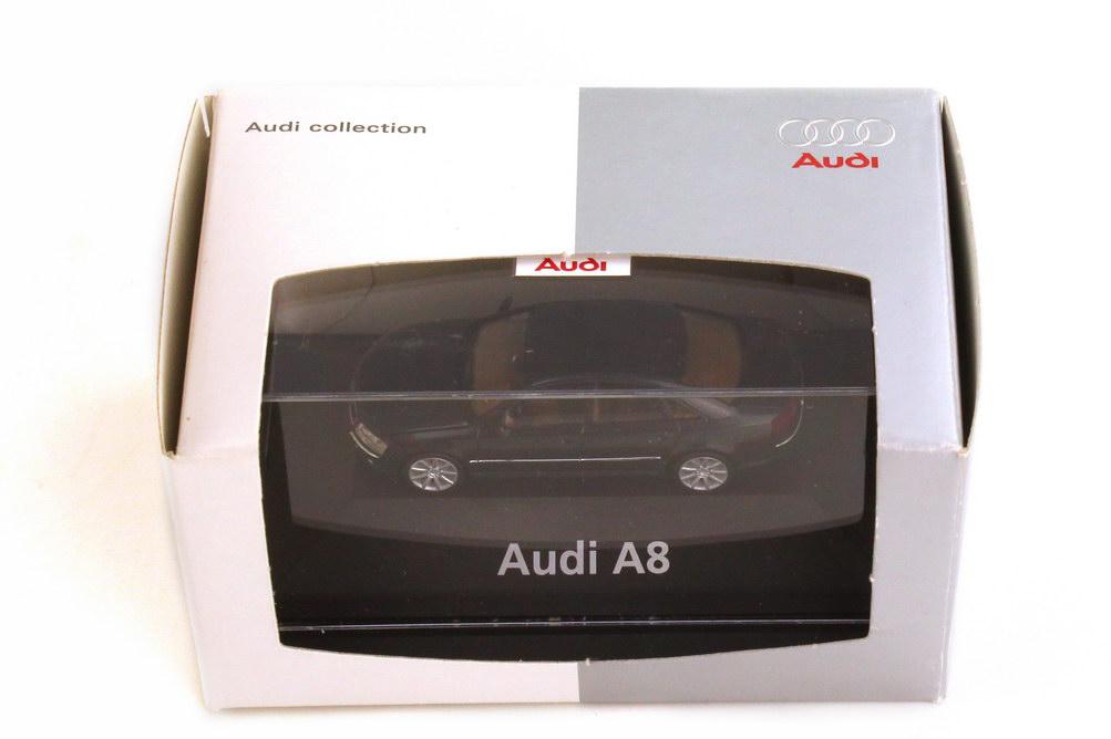 Foto 1:87 Audi A8 4.2 quattro D3 ebonyschwarz-met. mit 9-Speichen-Felgen - Werbemodell - herpa 5010308122