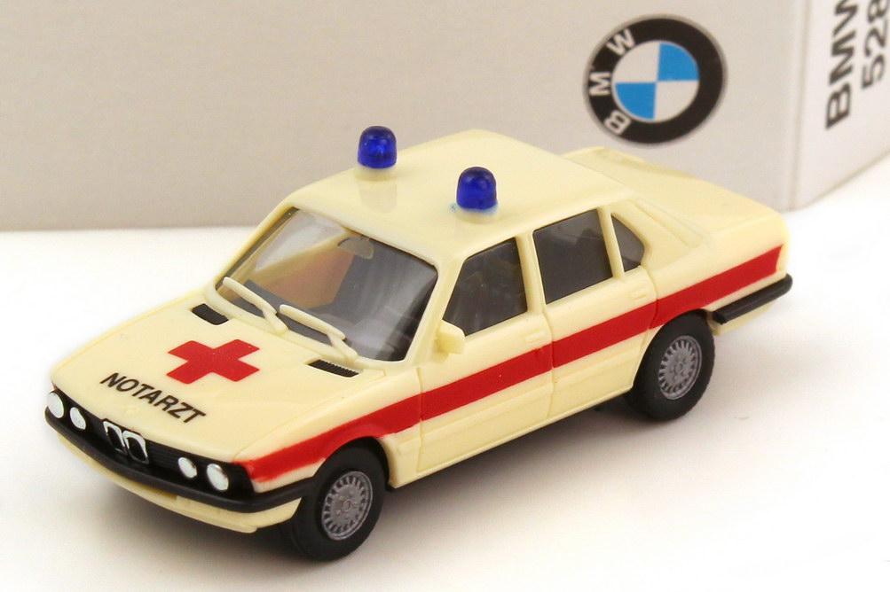 Foto 1:87 BMW 5er 528i E28 Notarzt beige rot - Werbemodell - herpa 82229406383