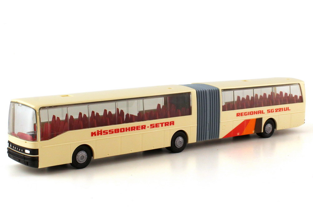 Foto 1:87 Kässbohrer-Setra SG 221 UL Gelenkbus beige Präsentations-Design - herpa 832461