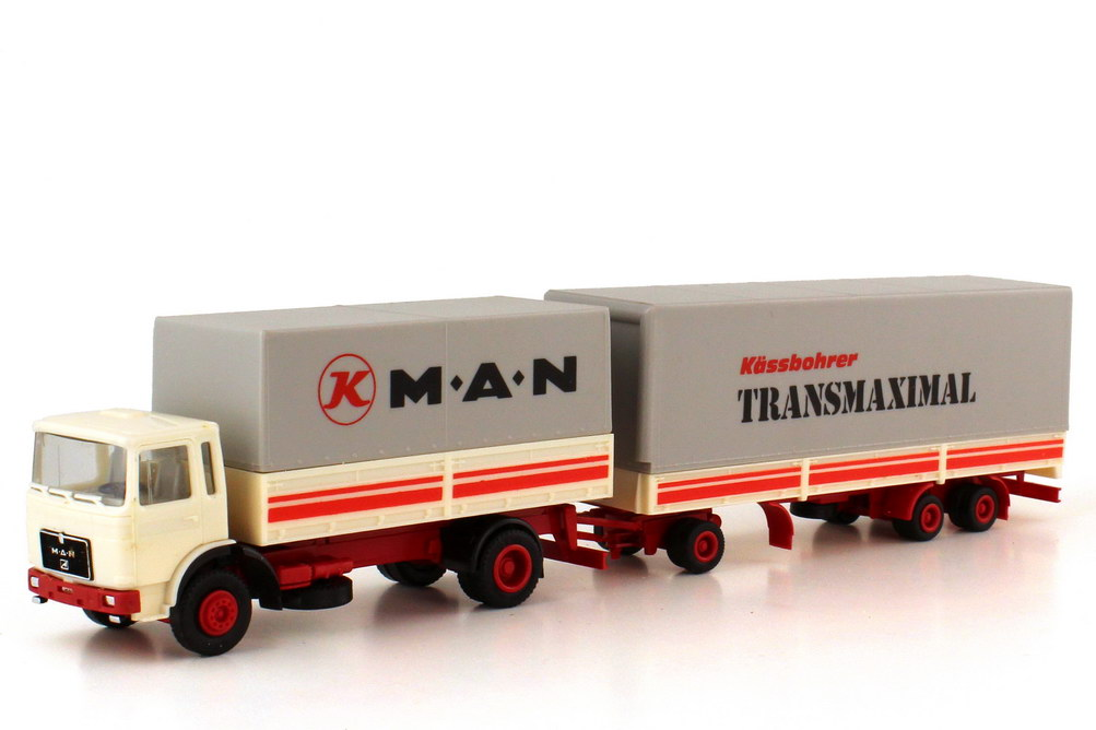 Foto 1:87 MAN F8 K Jumbo-PP-Hgz MAN Kässbohrer Transmaximal - herpa 820321