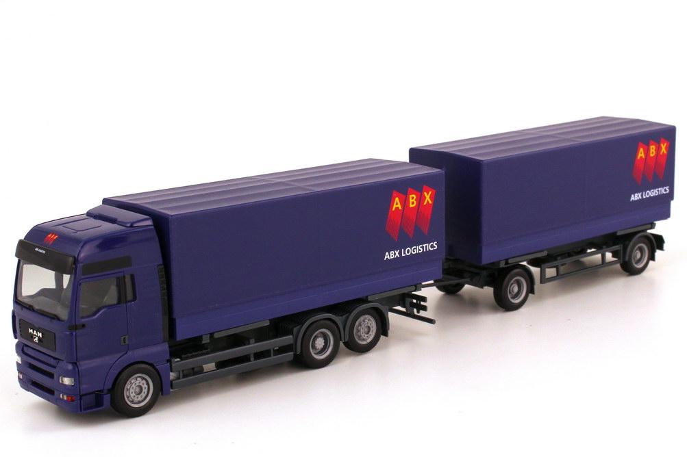 Foto 1:87 MAN TGA XXL PP-Wechselbrücken-Hängerzug - ABX Logistics - herpa