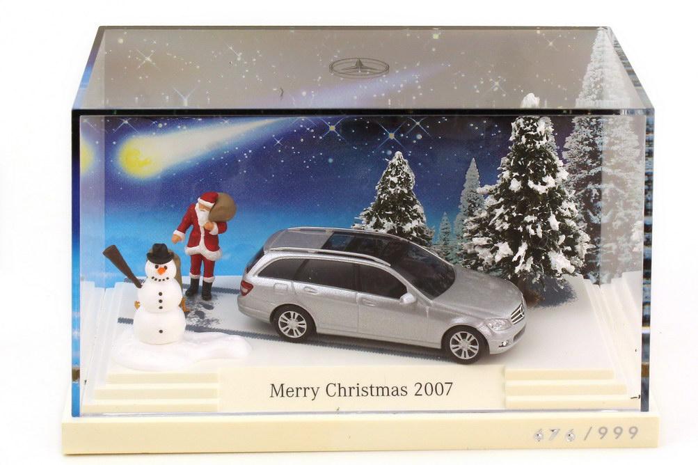 Foto 1:87 Mercedes-Benz C-Klasse T-Modell S204 Minidiorama Merry Christmas 2007 - Werbemodell - Busch B66962403