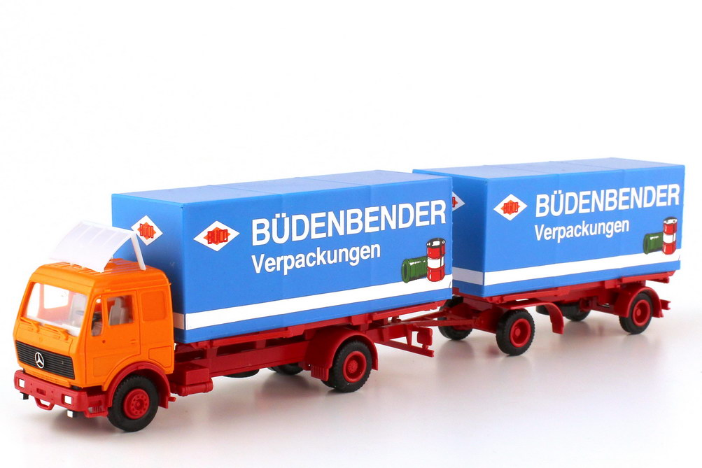 Foto 1:87 Mercedes-Benz NG Planen-Wechselbrücken-Hgz BÜCO Büdenbender Verpackungen - herpa 811306