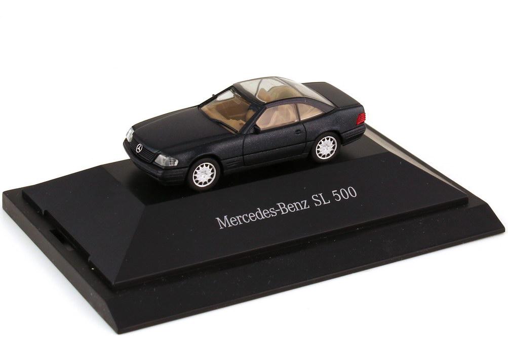 Foto 1:87 Mercedes-Benz SL 500 R129 MOPF mit Glashardtop smaragdschwarz-met. - Werbemodell - herpa B66005628