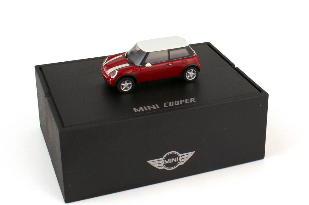 Foto 1:87 New Mini Cooper R50 solarrot mit weißen Streifen Dach weiß - Werbemodell - herpa 80410139356