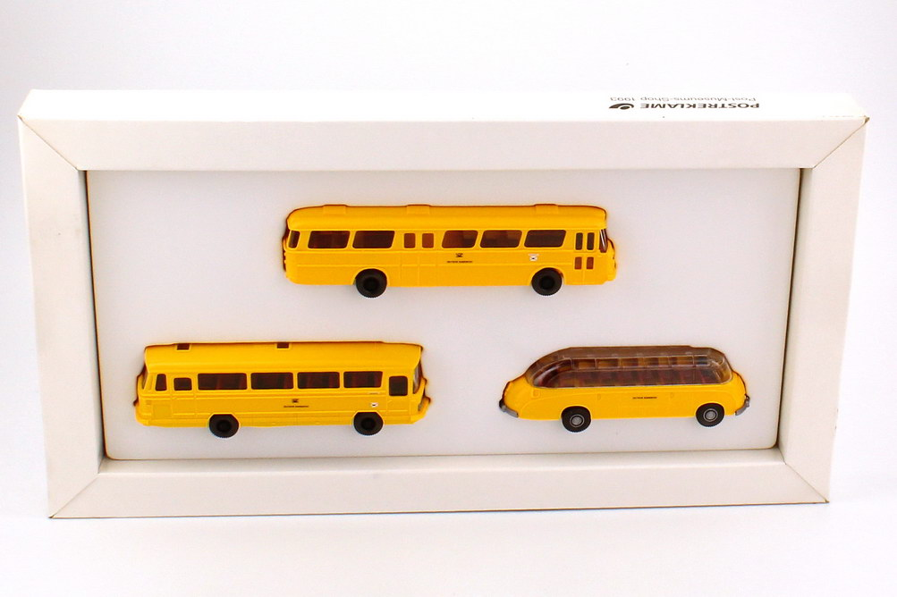 Foto 1:87 Post Museums Shop PMS Setpackung 1993 Postbusse Büssing Senator + Mercedes-Benz O 302 + Setra S8 - Wiking