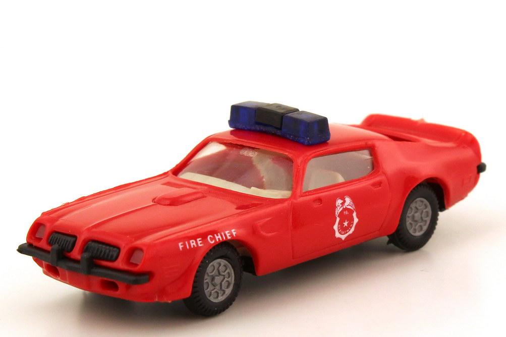 Foto 1:87 Pontiac Firebird 1973 Fire Chief rot - blaue Warnleuchten - Praliné 81705
