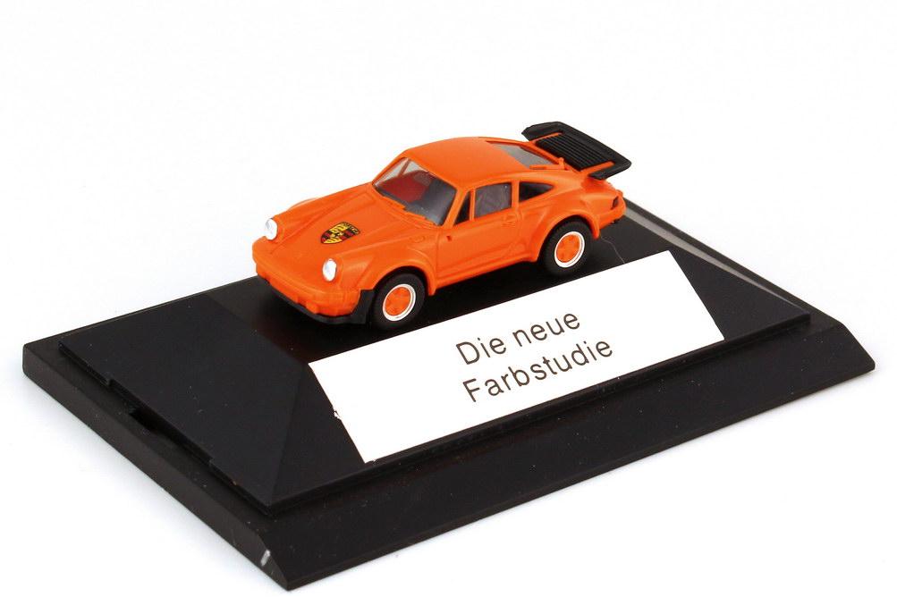 Foto 1:87 Porsche 911 turbo Typ 930 orange - Die neue Farbstudie - überklebter Sockel - herpa