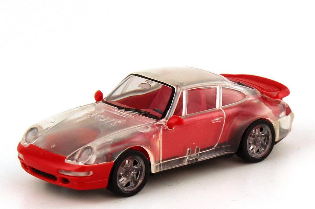 Foto 1:87 Porsche 911 turbo 993 transparent rot - Aktionsmodell Nr.1 - herpa 184892