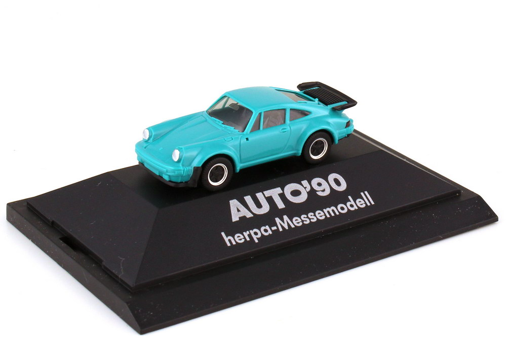 Foto 1:87 Porsche 911 turbo Typ 930 türkis - Messemodell - Auto 90 - herpa