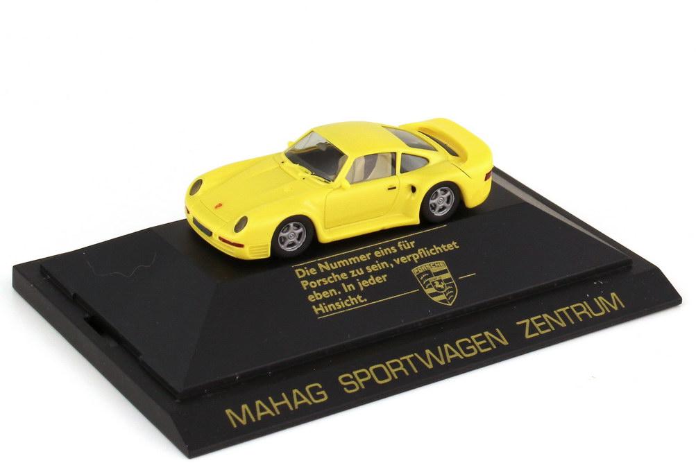 Foto 1:87 Porsche 959 gelb - Mahag Sportwagen Zentrum - herpa