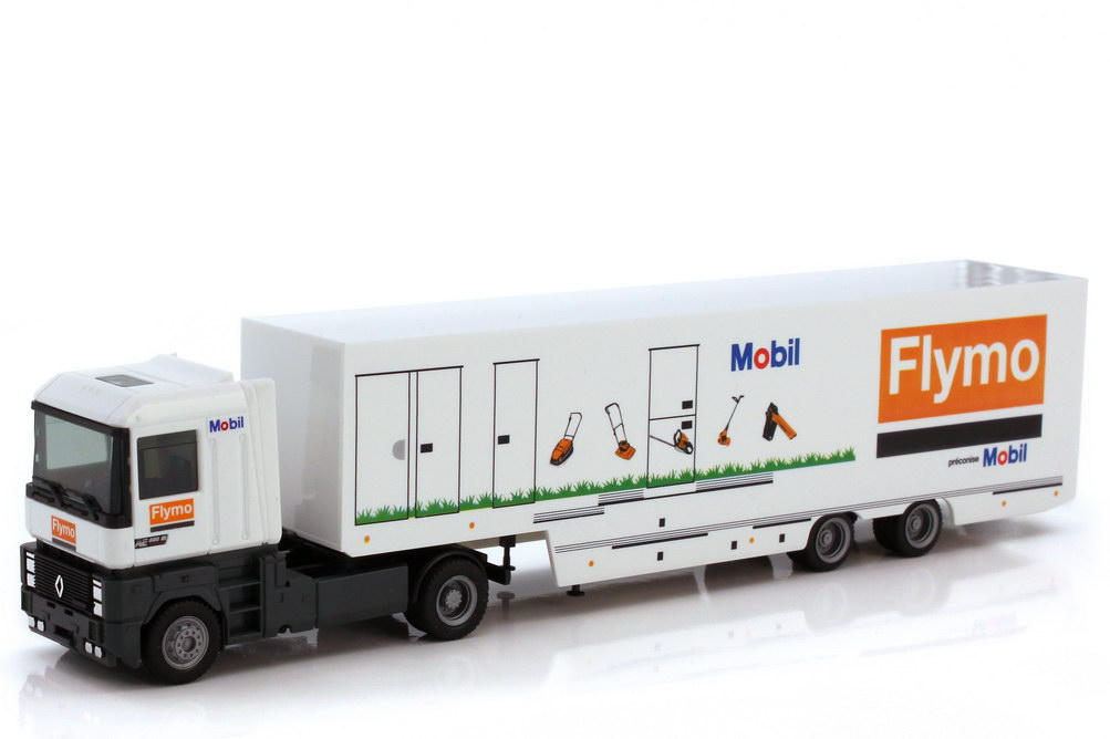 Foto 1:87 Renault AE 500 Magnum Renntransporter-Szg - Team Flymo Mobil Espace + Competition - herpa 40311
