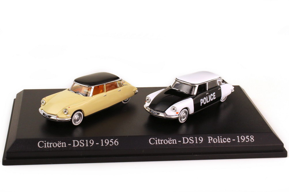 Foto 1:87 Setpackung Citroen DS19 1956 beige schwarz + 1958 Police - Norev Atlas Edition Set 3