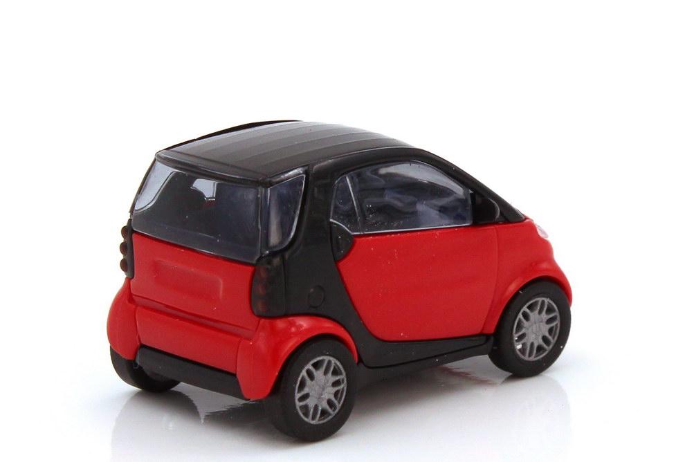 Foto 1:87 Smart City-Coupé C450 mad-red schwarz - Busch 48900
