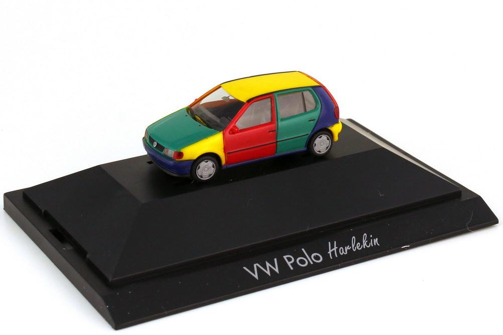 Foto 1:87 VW Polo 6N 4türig - Harlekin gelbes Dach grüne Haube - herpa 183543