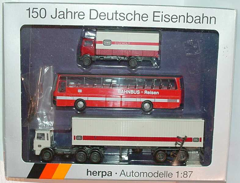 Foto 1:87 150 Jahre Deutsche Eisenbahn (Mercedes LP 813 PP DB Stückgut + Setra 215 HD DB Bahnbus-Reisen + MAN (K) 40CoSzg DB) herpa 7542