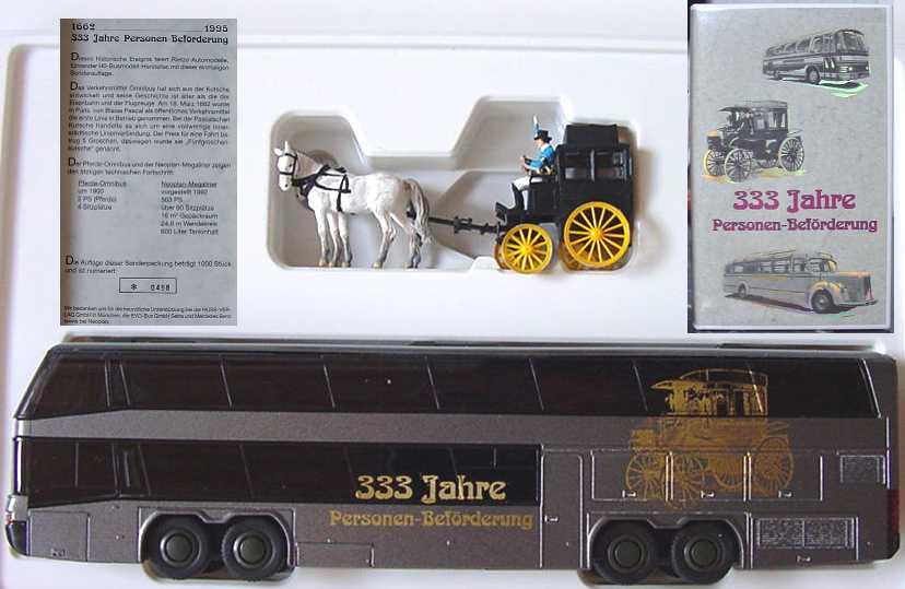 Foto 1:87 333 Jahre Personenbeförderung (Pferde Omnibus + Neoplan Megaliner) Rietze