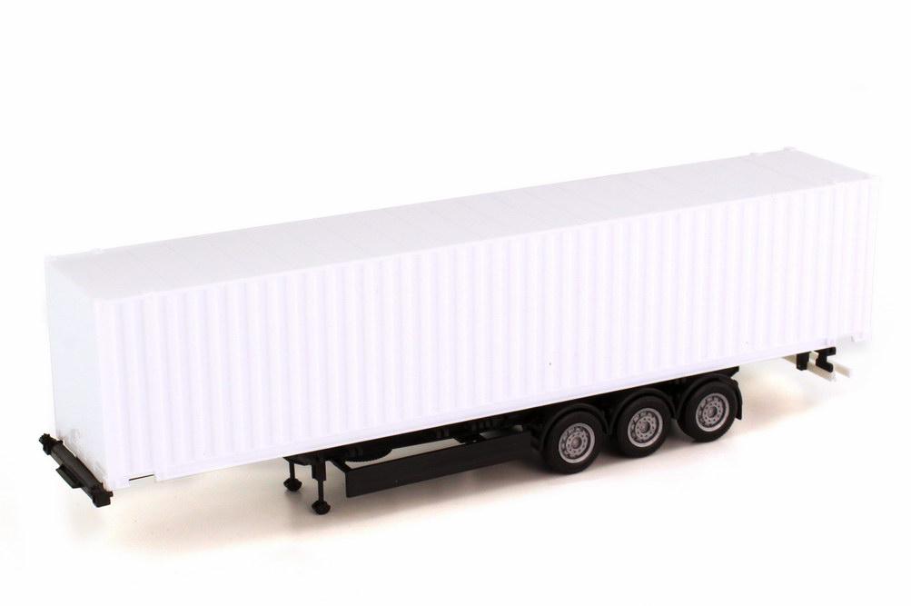 Foto 1:87 45ft. Container-Sattelauflieger 3a weiß/schwarz herpa 076210