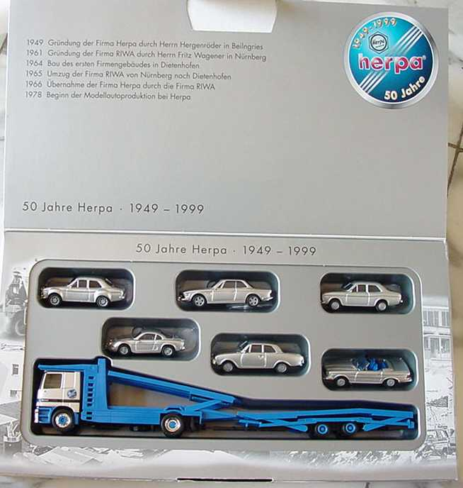 Foto 1:87 50 Jahre Herpa - 1949-1999 (MB Actros Autotransporter + Ford Escort RS + BMW 3.0 CSi + Ford Escort + Renault A110 + Ford Taunus + MB 280 SL) herpa 188548