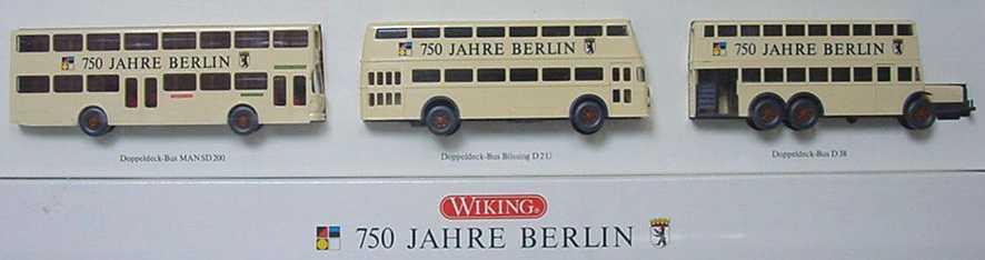 Foto 1:87 750 Jahre Berlin Omnibus-Set (MAN SD 200 + Büssing D2U + D38) Wiking