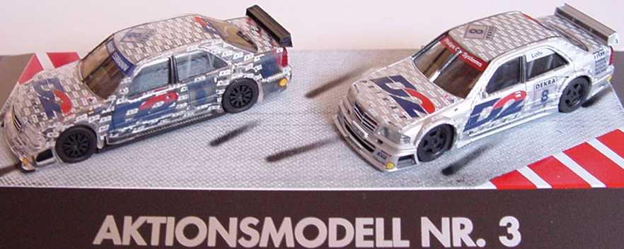 Foto 1:87 Aktionsmodell Nr.3 (Mercedes C-Klasse AMG D2 Nr.8, Lohr silber + transparent) herpa 185677