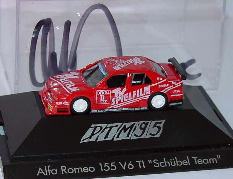 Foto 1:87 Alfa Romeo 155 V6 TI DTM 1995 Schübel, TV Spielfilm Nr.11, Danner mit Fahrerautogramm herpa 036498