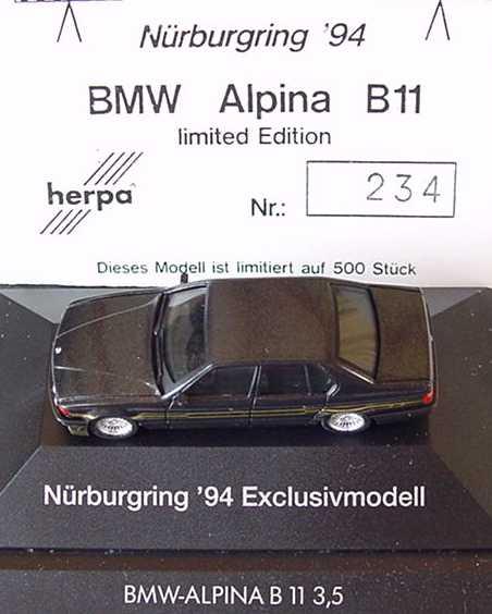 Foto 1:87 Alpina B11 3,5 (E32) schwarz-met. Nürburgring ´94 herpa