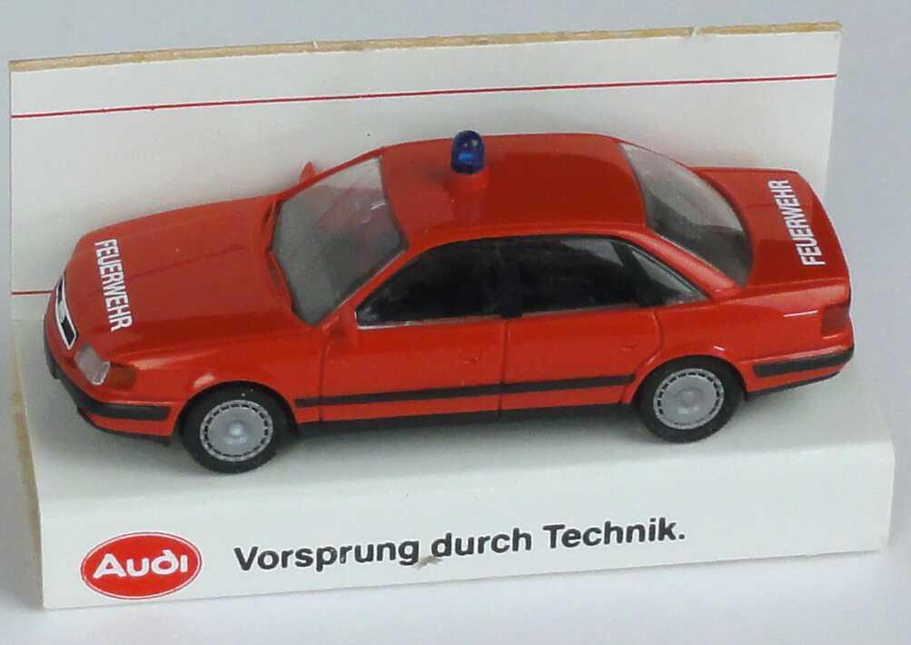 Foto 1:87 Audi 100 (C4) Feuerwehr rot Werbemodell Verpackungsdruck Vorsprung durch Technik Rietze