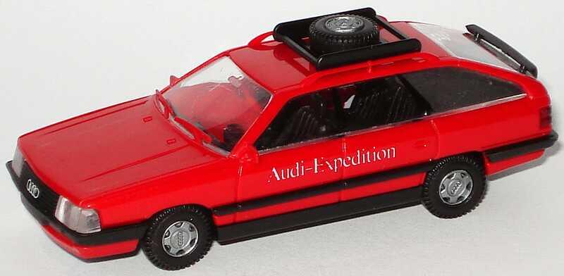 Foto 1:87 Audi 200 Avant rot mit Dachgepäckträger Audi-Expedition Rietze