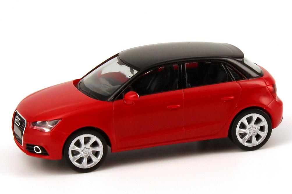 Foto 1:87 Audi A1 Sportback misano-rot / schwarz Werbemodell herpa 5011201022