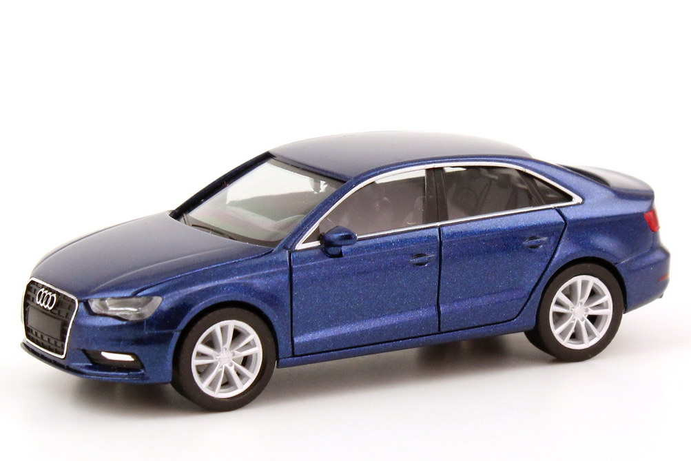 Foto 1:87 Audi A3 Limousine (8V) 2013 scuba-blau-met. Werbemodell herpa 5011303112