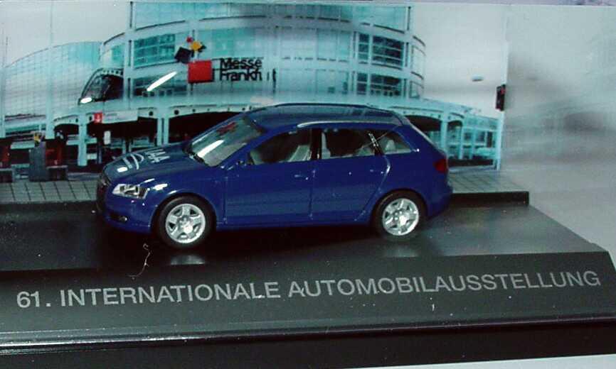 Foto 1:87 Audi A3 Sportback blau IAA - Faszination Auto, 61. International Automobilausstellung herpa 275477