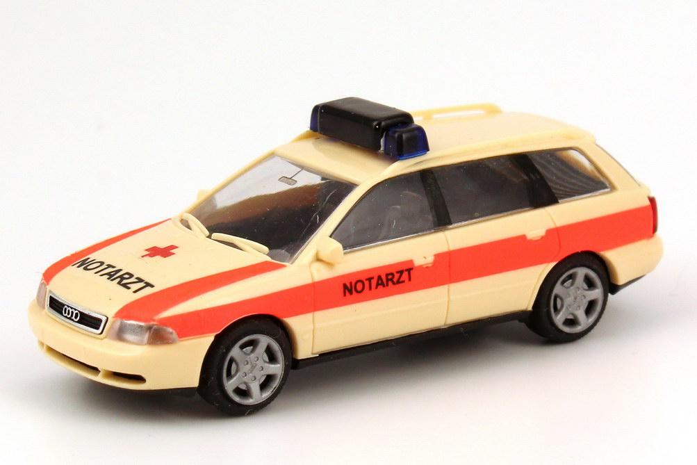Foto 1:87 Audi A4 Avant (B5) NEF Notarzt beige/rot Rietze 50791