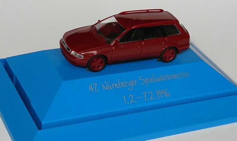 Foto 1:87 Audi A4 Avant (B5) dunkelweinrot, Felgen in Wagenfarbe 47. Nürnberger Spielwarenmesse 1996 Rietze