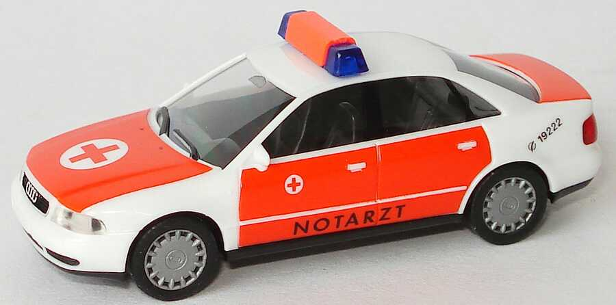 Foto 1:87 Audi A4 (B5) NEF Notarzt weiß/tagesleuchtrot herpa 044004